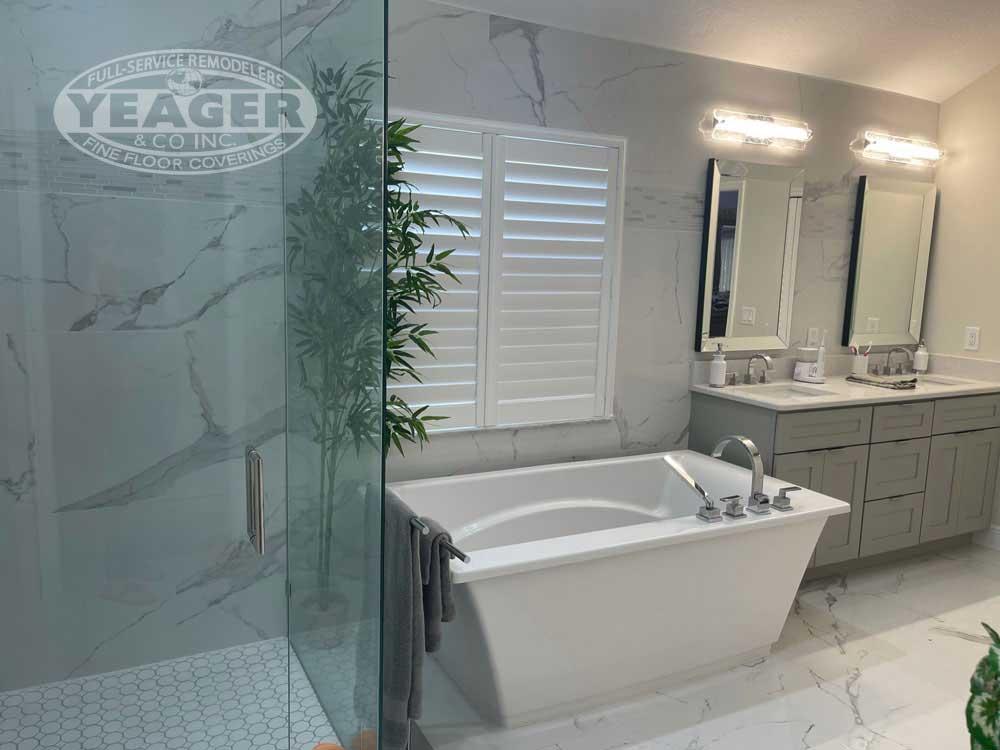 White Tile Master Bath